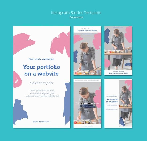 Raccolta di storie di instagram per portfolio di pittura sul sito web