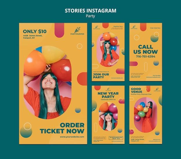 Raccolta di storie di instagram per la celebrazione della festa con donna e palloncini