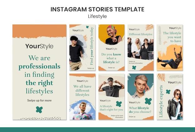 Raccolta di storie di instagram per uno stile di vita personale