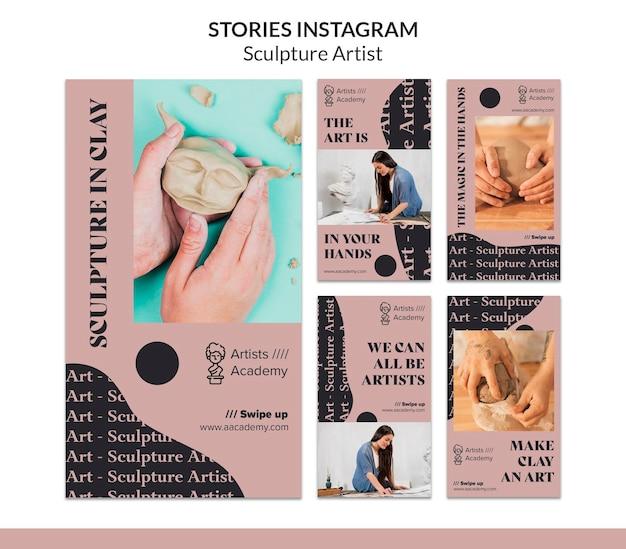 Raccolta di storie instagram per laboratorio di scultura