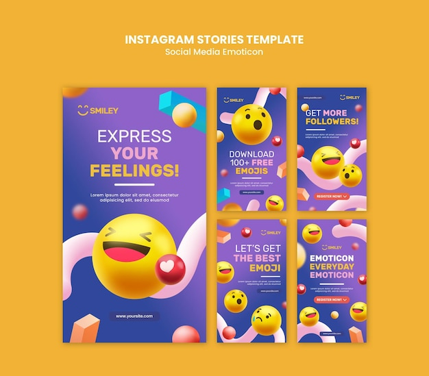 Raccolta di storie di instagram per emoticon di app di social media
