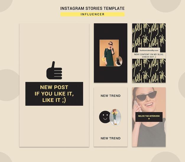 Raccolta di storie di instagram per influencer di moda sui social media