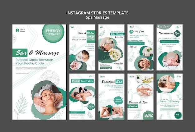 Raccolta di storie di instagram per il massaggio termale con la donna