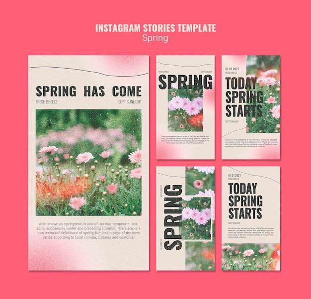 Raccolta di storie di instagram per la primavera con i fiori