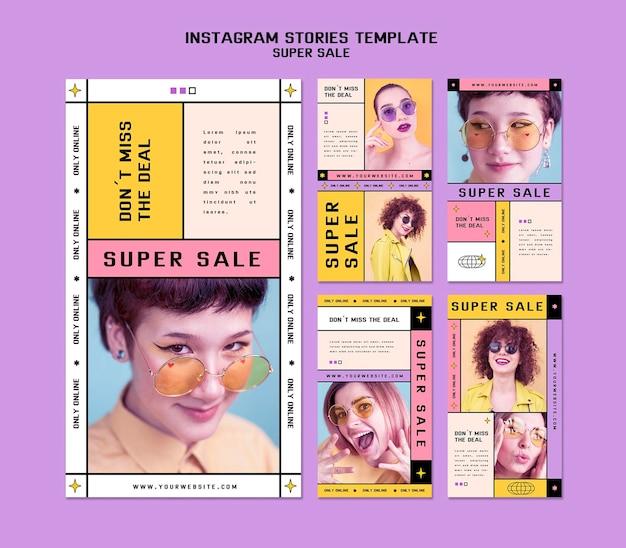 Raccolta di storie di instagram per super vendita di occhiali da sole