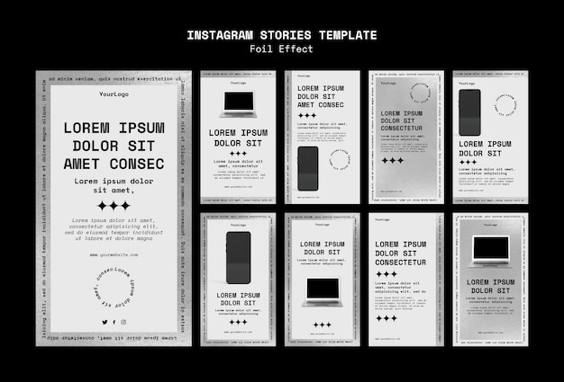 Raccolta di storie di instagram per la tecnologia con effetto lamina
