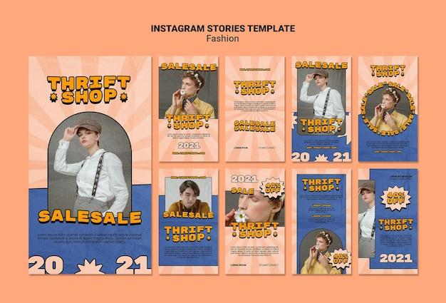 Raccolta di storie di instagram per la vendita di moda nel negozio dell'usato Psd Premium