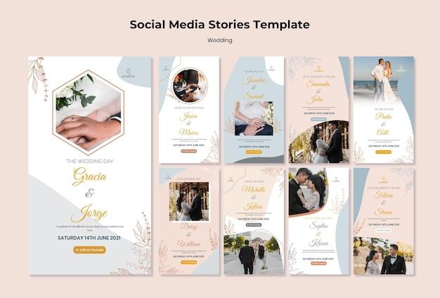 Raccolta di storie instagram per la cerimonia di matrimonio con la sposa e lo sposo