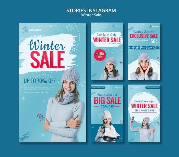 Raccolta di storie di instagram per saldi invernali con donna e fiocchi di neve