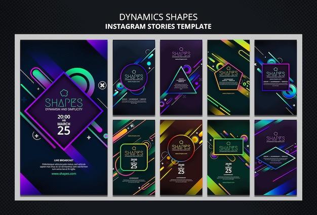 Raccolta di storie di instagram con forme geometriche al neon dinamiche