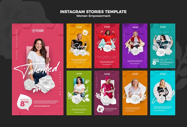 Raccolta di storie di instagram per l'emancipazione delle donne con parole incoraggianti