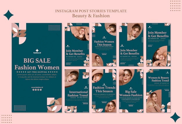Raccolta di storie di instagram per la bellezza e la moda femminile