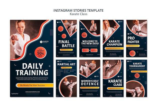 Raccolta di storie su instagram per lezioni di karate femminile