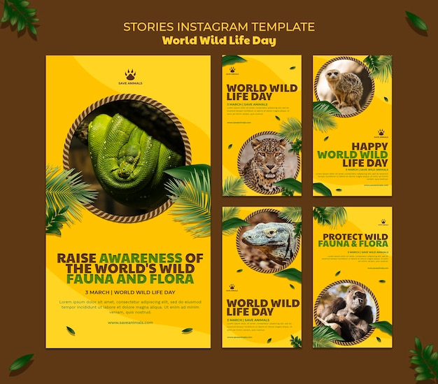 Raccolta di storie di instagram per la giornata mondiale della fauna selvatica con gli animali