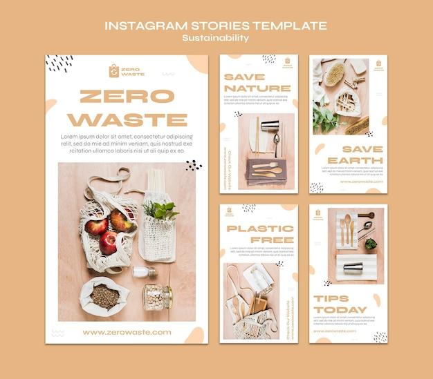 Raccolta di storie su instagram per uno stile di vita a rifiuti zero