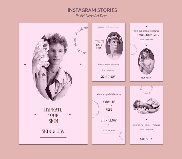 Storie di instagram modello di design neo art pastello