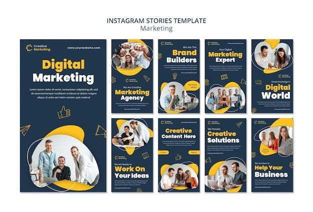 Modello di storie di instagram con il concetto di marketing digitale