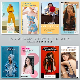 Raccolta di storie instagram per modello di social media