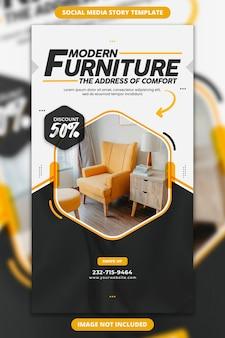 Storia di instagram per il modello di vendita di mobili moderni