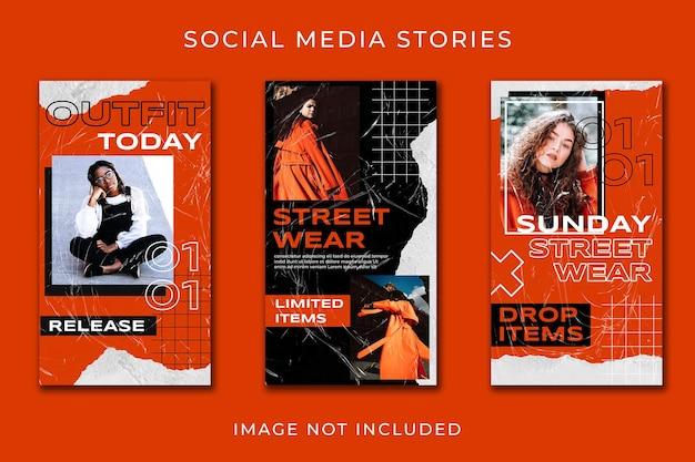 Instagram story arancione modello di moda urbana