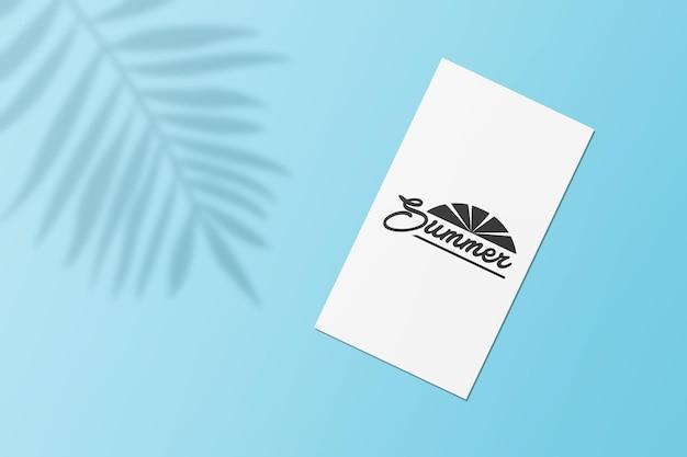 Mockup di carte estive storia di instagram con foglie ombra