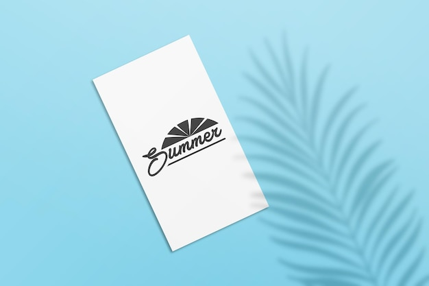 Mockup di carte estive per storie di instagram con ombra di foglie di palma