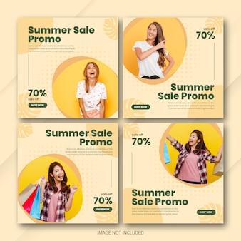 Insieme del modello dell'alberino di vendita di estate di instagram