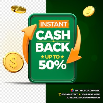 Concetto di cashback istantaneo con monete, frecce e casella di testo