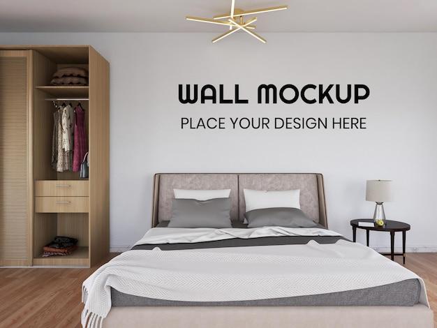 Mockup realistico della parete della camera da letto interna