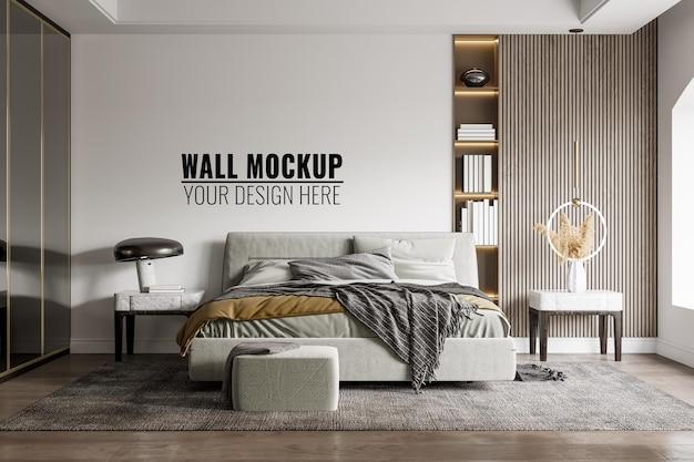 Mockup della parete interna della camera da letto, rendering 3d