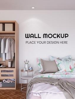 Mockup realistico della carta da parati interna della camera da letto