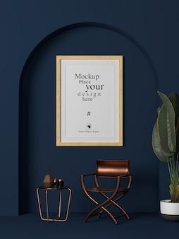 Cornice per foto in bianco interna mock up in soggiorno