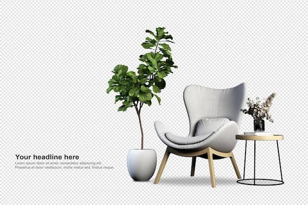 Decorazione d'interni impostata nel rendering 3d