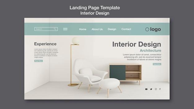 Modello di pagina di destinazione di interior design