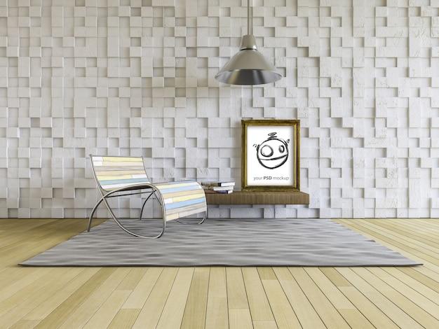Mockup di design d'interni con cornice