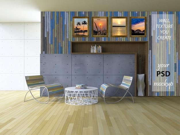 Mockup di interior design con soggiorno
