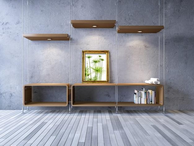 Mockup di interior design con mobili moderni