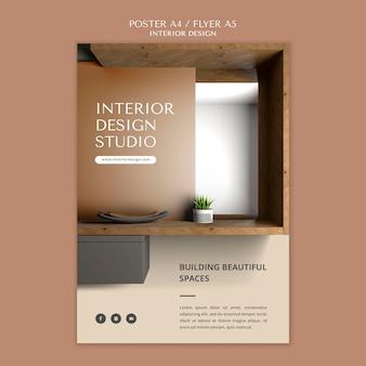 Modello di volantino per poster di design d'interni