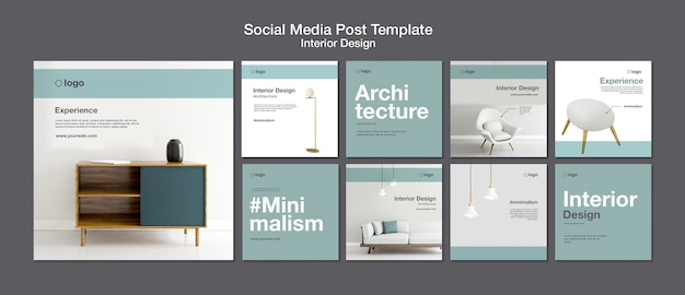Modello di post sui social media di interior design