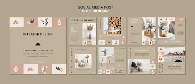 Post sui social media di interior design
