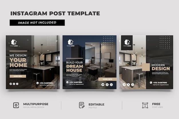 Modello di social media di interior design