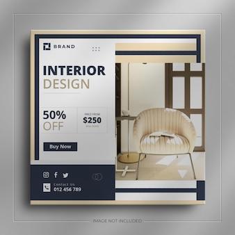 Arredamento per interni social media web banner e piazza immobiliare post storia di instagram