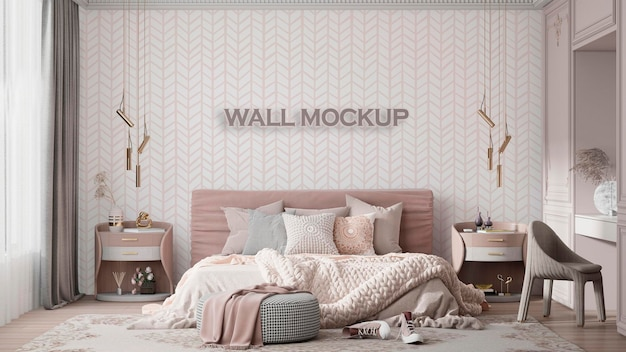 Mockup di parete per cameretta interna per bambini psd premium