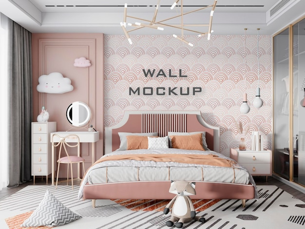 Mockup di sfondo per camera da letto per bambini interni psd premium