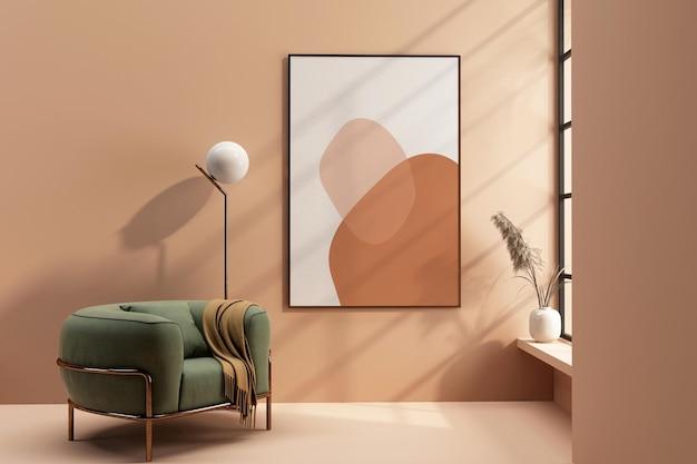 Struttura del soggiorno interno e design del mockup di una poltrona in 3d