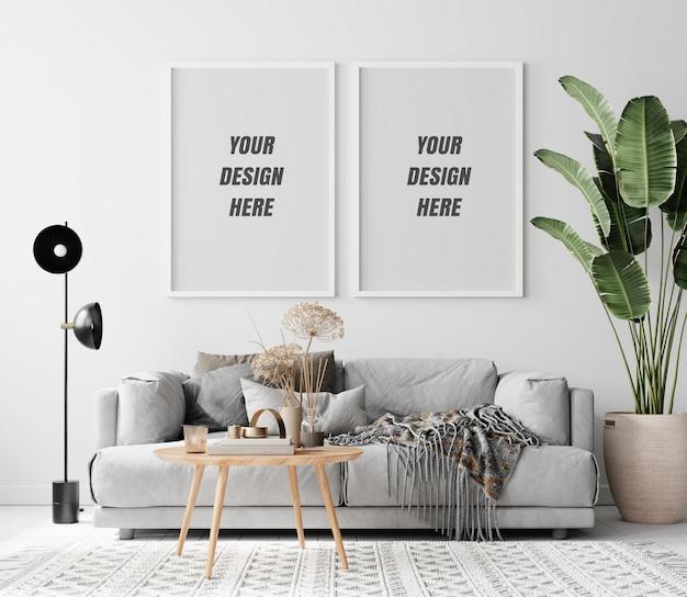 Mockup di telaio interno soggiorno