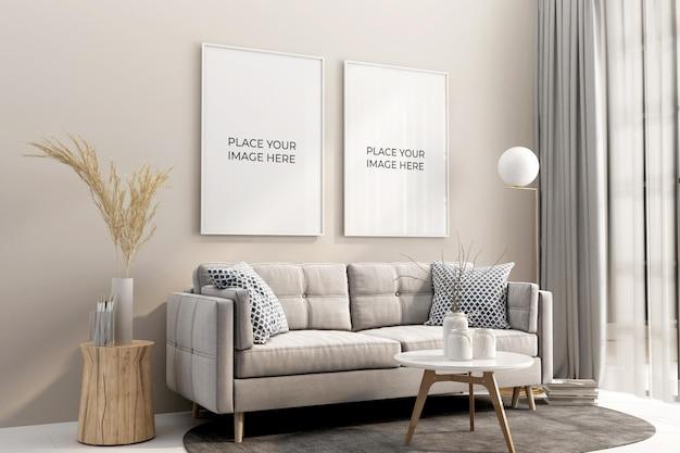 Cornici interne del soggiorno e design mockup del divano in 3d