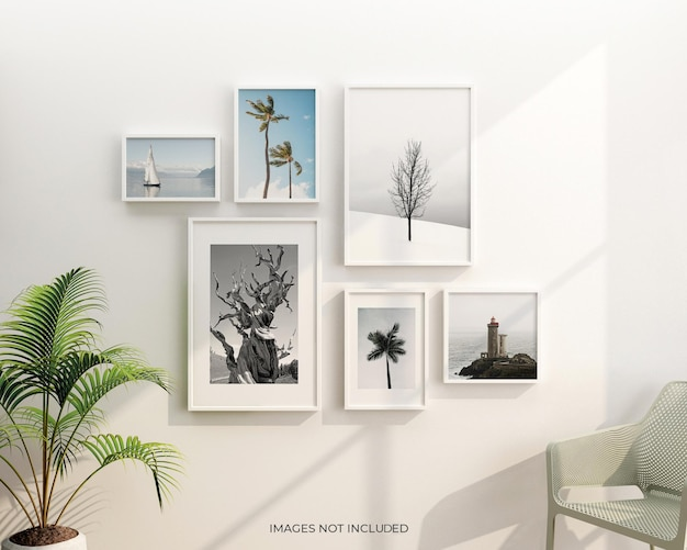 Cornici interne per soggiorno con design di mockup di piante in 3d