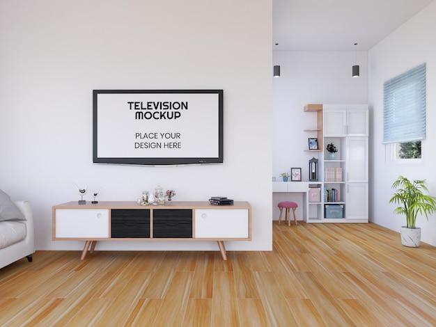 Salone interno e mockup della televisione