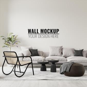 Mockup 3d della parete del salone interno che rende l'illustrazione 3d